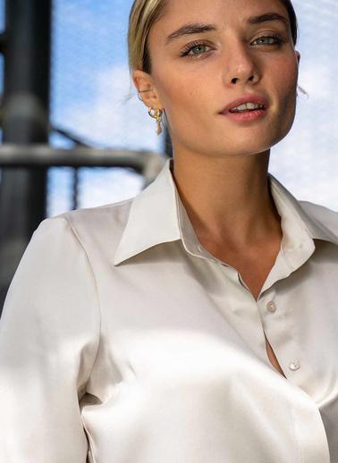 Silk and Cashmere İpek Audrey Geniş Manşet Uzun Kollu Gömlek Taş